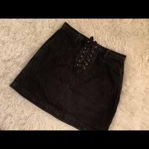 Topshop Black Denim Lace up Mini Skirt